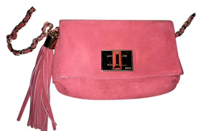 Emilio Pucci Chain Rose Pink Suede Leather Shoulder Bag Emilio Pucci Chain Rose Pink Suede Leather Shoulder Bag Image 1