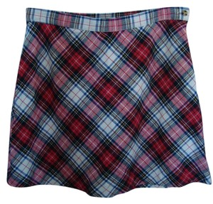 Lucky Brand Plaid Wool Skirt Red