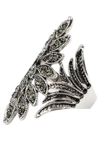 Ocean Fashion Fashion asymmetrical gray-green crystal silver ring