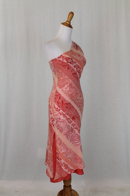 Express One Shoulder Draped Mid Calf Pure Silk Silk Dress Image 1