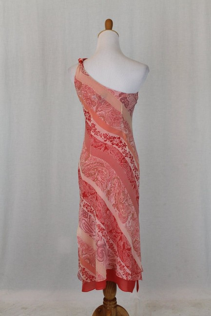 Express One Shoulder Draped Mid Calf Pure Silk Silk Dress Image 4