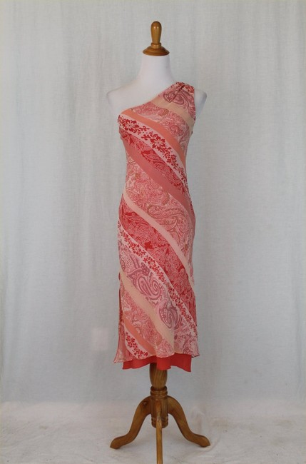 Express One Shoulder Draped Mid Calf Pure Silk Silk Dress Image 5