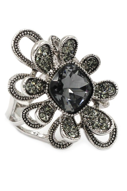 Ocean Fashion Silver Gray Crystal Flower Ring Ocean Fashion Silver Gray Crystal Flower Ring Image 1