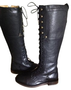 J SHOES Leather Tall Lace Up Combat Side Zip Black Boots