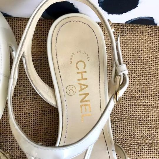 Chanel white and gold Sandals