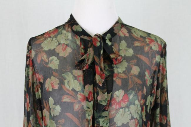 Ralph Lauren Blue Label Long Sleeves Sheer Floral Silk Tie Neck Tunic Image 1