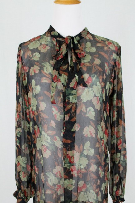 Ralph Lauren Blue Label Long Sleeves Sheer Floral Silk Tie Neck Tunic Image 3