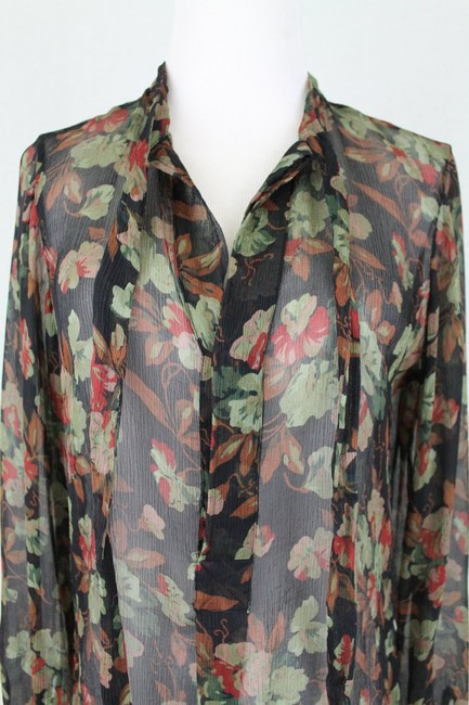 Ralph Lauren Blue Label Long Sleeves Sheer Floral Silk Tie Neck Tunic Image 4