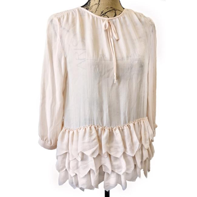 The Great. Peplum Silk Ruffle Top Pink