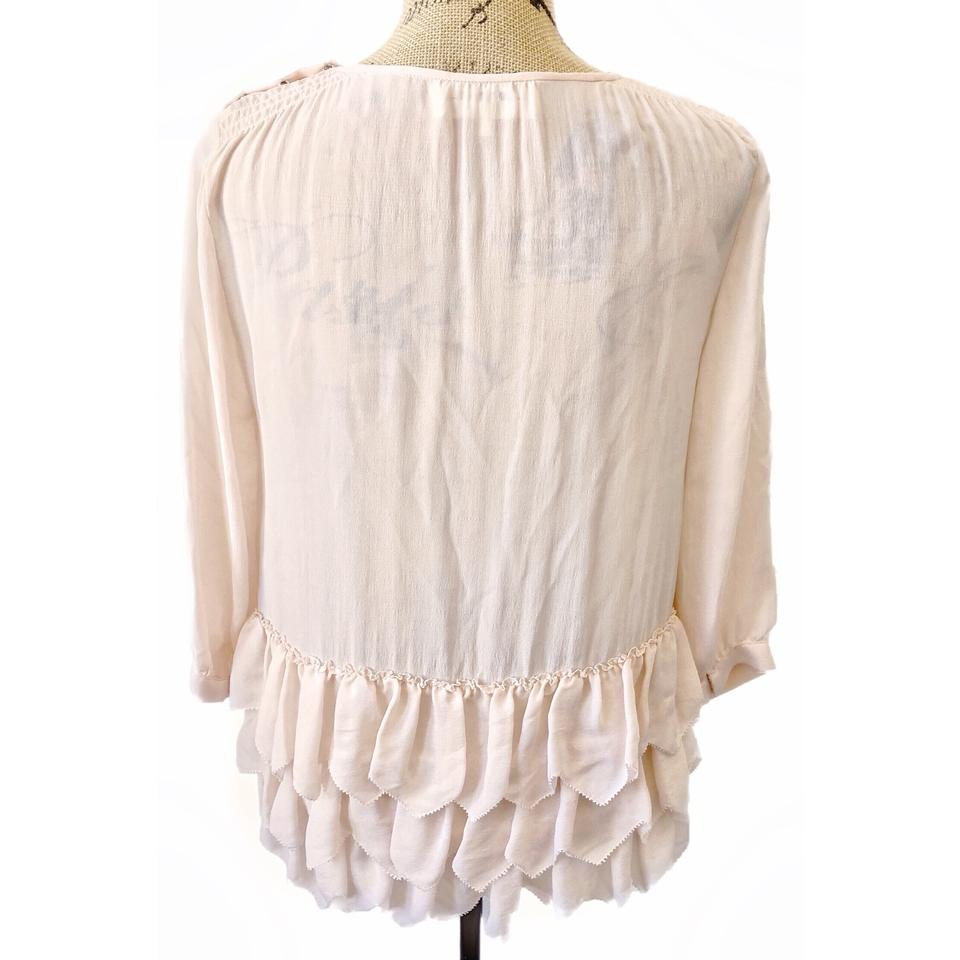 03559b6bab4c95 The Great. Pink Silk Peplum Ruffled Blouse Size 0 (XS) - Tradesy