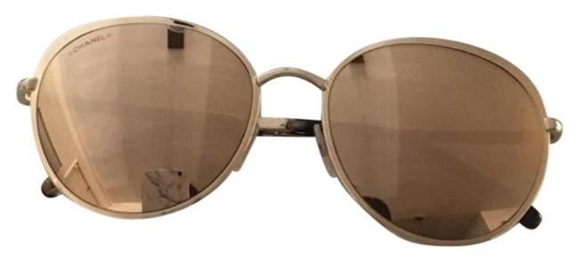 Chanel Gold Round Spring Sunglasses Chanel Gold Round Spring Sunglasses Image 1