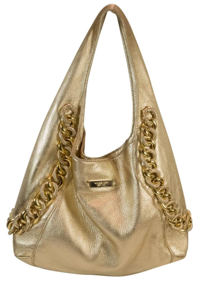 87e7ae2c9c MICHAEL Michael Kors Id Chain Style Shoulder Metallic Gold Leather Hobo Bag