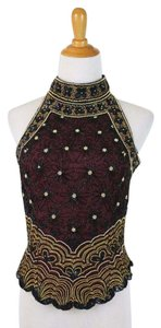 Papell Boutique Corset Ballerina Bodice Embellished Embroidered Top Black, Burgundy, Gold