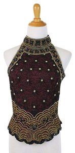 Adrianna Papell Corset Ballerina Bodice Embellished Embroidered Top Black, Burgundy, Gold