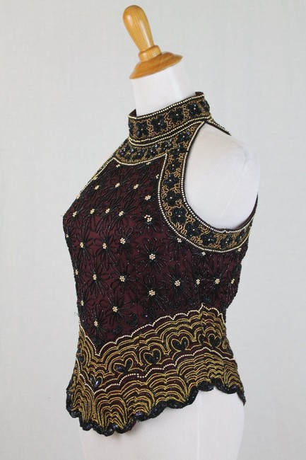Adrianna Papell Corset Ballerina Bodice Embellished Embroidered Top Black, Burgundy, Gold Image 1