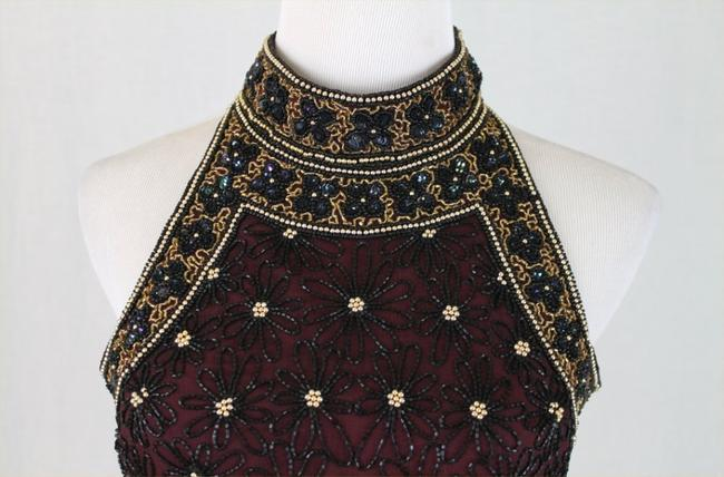 Adrianna Papell Corset Ballerina Bodice Embellished Embroidered Top Black, Burgundy, Gold Image 3