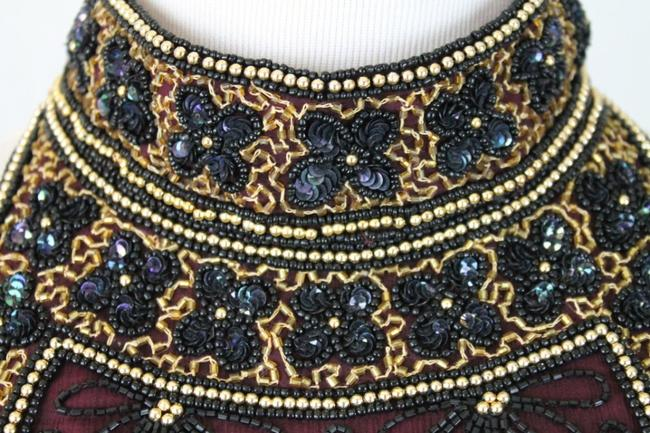 Adrianna Papell Corset Ballerina Bodice Embellished Embroidered Top Black, Burgundy, Gold Image 4