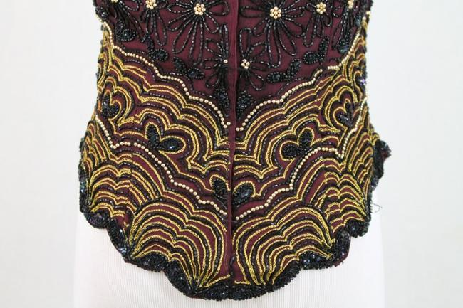 Adrianna Papell Corset Ballerina Bodice Embellished Embroidered Top Black, Burgundy, Gold Image 5