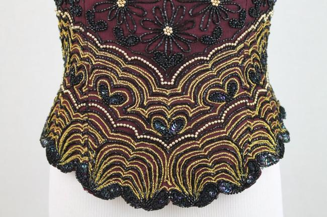Adrianna Papell Corset Ballerina Bodice Embellished Embroidered Top Black, Burgundy, Gold Image 6