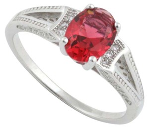 Other ** NWT ** OVAL RUBY STERLING SLIVER RING