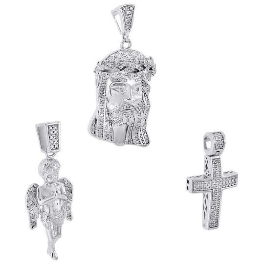 Other .925 Sterling Silver Real Diamond Mini Pave Jesus Pendant Angel Cross