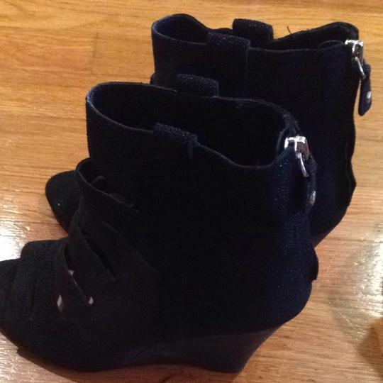 Rebecca Minkoff Wedges Leather Cut-out Commfy 9.5 Black Sandals