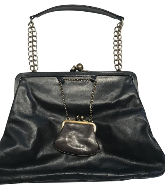 Item - Black with Brown Coin Purse Lambskin Leather Shoulder Bag