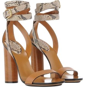 Gucci Leather Chunky Snakeskin tan Sandals