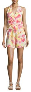 Young Fabulous & Broke Jumpsuit Playsuit Shorts Dress Tie-dye Yellow with Pink Halter Top