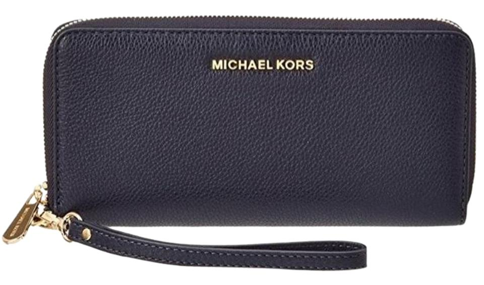 6d58a1163e2a Michael Kors Bedford Travel Continental Leather Wallet Admiral Blue Image 0  ...