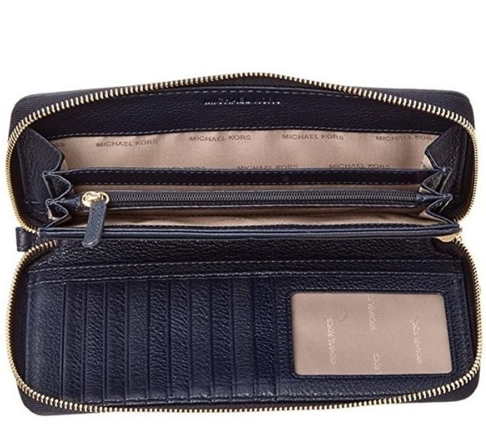 f542926aac0140 ... Michael Kors Bedford Travel Continental Leather Wallet Admiral Blue.