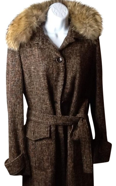 Item - Brown Real Fur Collar Belted Coat Size 6 (S)