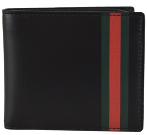 841994ea9303 Gucci New Gucci Men's Smooth Black Leather Red Green Stripe Bifold Wallet