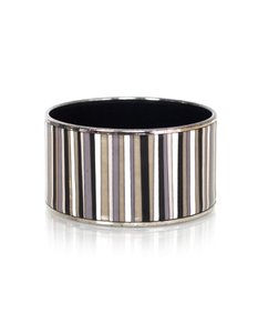 Hermès Hermes Black, Grey & White Extra Wide Carioca Stripes Enamel Bangle 65