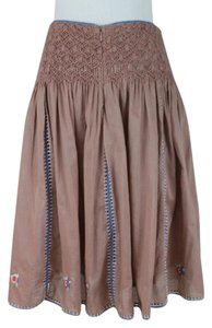 Cacharel Embroidered Smocked Cotton Voile Pleats Skirt brown. blue. red