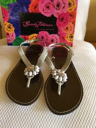 Beverly Feldman Casual Formal Almost Never Worned Rinestones Silver Sandals Image 1