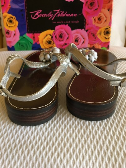 Beverly Feldman Casual Formal Almost Never Worned Rinestones Silver Sandals Image 3