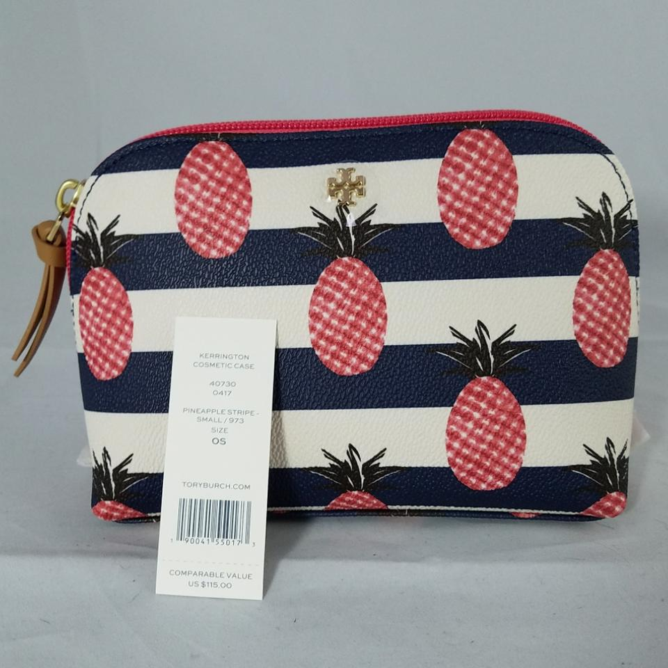 ad7b356ca3e Tory Burch Kerrington Nwts Small Stripe Pineapple Cosmetic Bag - Tradesy