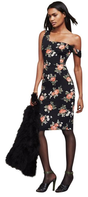 Item - Black with Peach White and Sage Floral Pattern Coco Midnight Bloom Mid-length Cocktail Dress Size 6 (S)