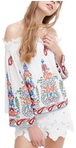 Endless Rose Embroidered Off The Shoulder Boho Sexy Top Multi
