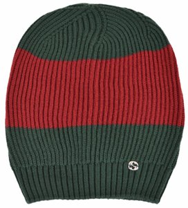 Gucci New Gucci Men's 310777 Wool Green Red Interlocking GG Slouchy Hat