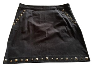 Brooklyn Industries Studded Cotton A-line Above The Knee Skirt Black