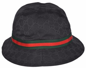 Gucci NEW GUCCI 200036 GG Guccissima Black Web Stripe Fedora Bucket Hat XL a36fd2803352