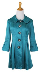 Byer California Ladylike Dressy Pleats Peterpan Collar Sateen Coat