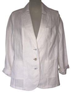 Gerry Weber 10 Cotton Linen Classic Dressing White Blazer