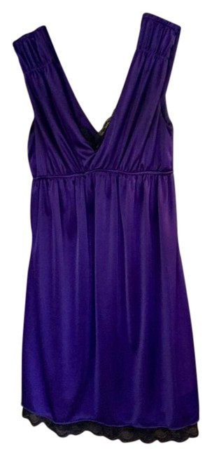 Item - Purple Grecian-style Empire Waist Party with Lace Detail Mid-length Cocktail Dress Size 6 (S)