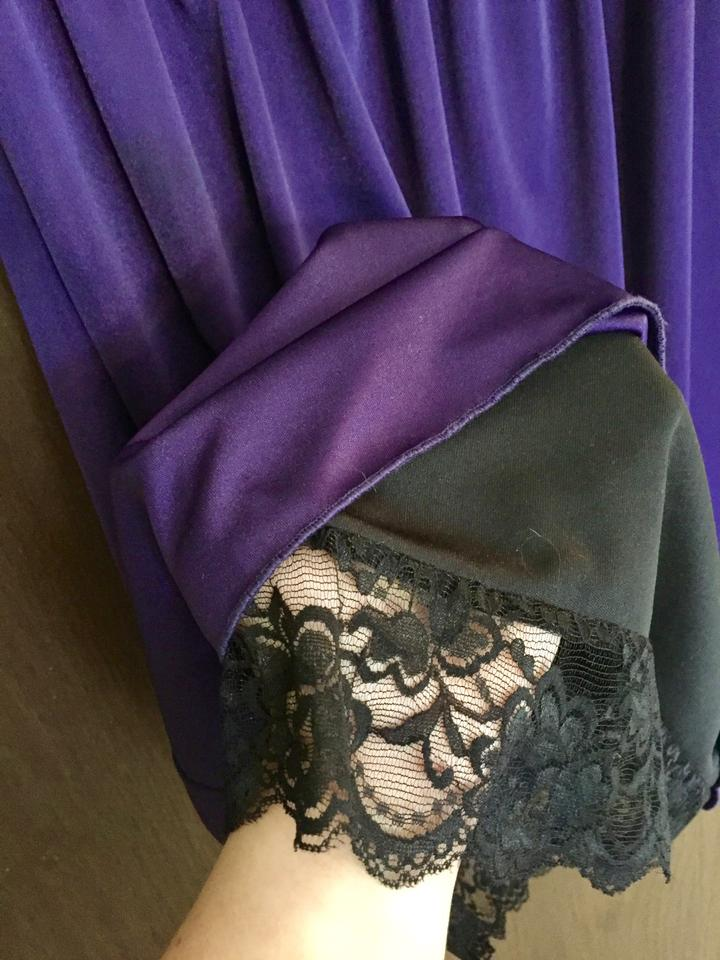 Lux Purple Grecian-style Empire Waist Party with Lace Detail Mid ...