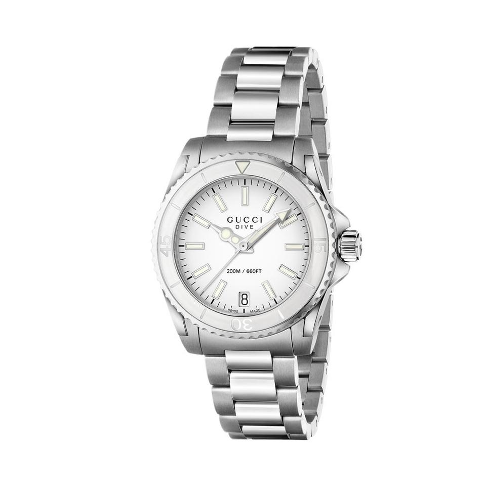 d2ff40a5d14 Gucci Dive Medium White Dial Stainless Steel Unisex Watch - Tradesy