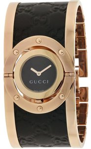30085d4bcaa Gucci Twirl Black Dial Pink Gold PVD and Black Leather Ladies Watch