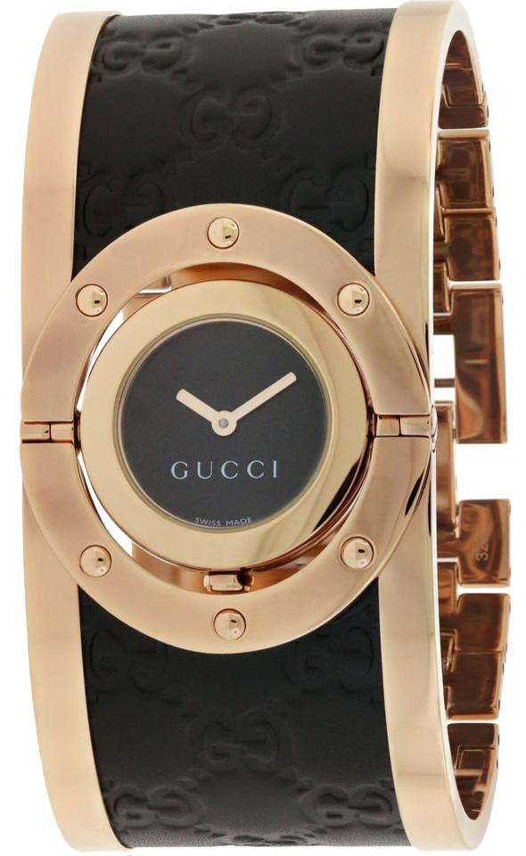 a2c5bcad53e Gucci Twirl Black Dial Pink Gold PVD and Black Leather Ladies Watch Image 0